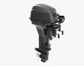 3D model Outboard portable boat motor with folded