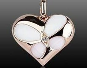 heart shape pendant with enamel 3D print model