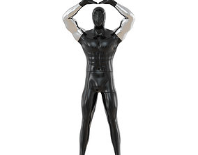Male abstract mannequin shows symbol with hands 3D model