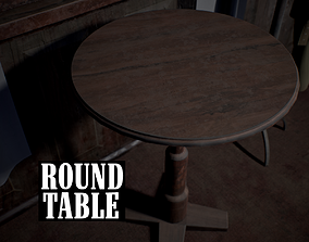 3D asset low-poly Round Table
