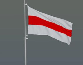 The flag of Belarus with flagpole 3D model