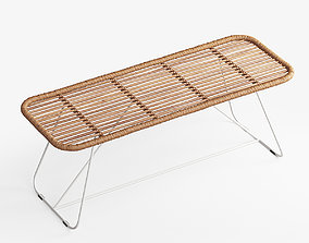 3D Bare Bamboo Bench