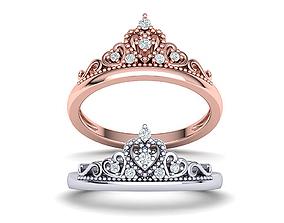 Princess Crown Ring Tiara ring 3dmodel N10372 printable