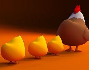 Cartoon Chickens cute 3D