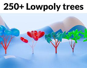 Low Poly trees mega pack 250 trees 3D asset