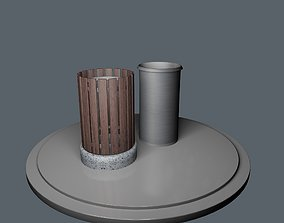 Bundle of 3 Trash Bins - with separate baskets 3D model 2