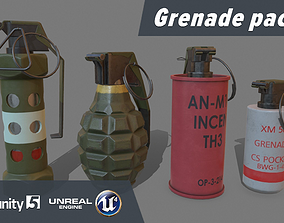 3D model low-poly Grenade pack