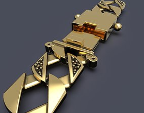 3D printable model Square curb chain bracelet 12mm wide 3