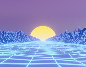 animated Retrowave 80s style 3D Scene Blender
