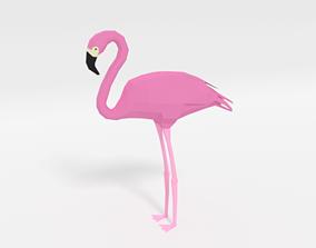 Low Poly Cartoon Flamingo 3D asset