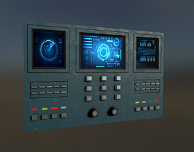 3D asset low-poly Sci-Fi Wall Panel