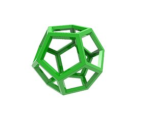 Wireframe dodecahedron 3D print model