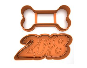 3D printable model Cookie cutter pack - New Year 2018