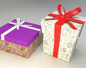 Low poly gift boxes of both cubical and 3D model 3