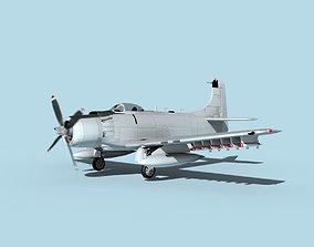Douglas A-1H Skyraider Bare Metal 3D model
