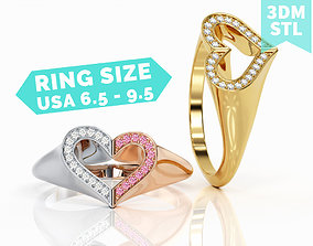 3D printable model Double heart Ring R F 0052
