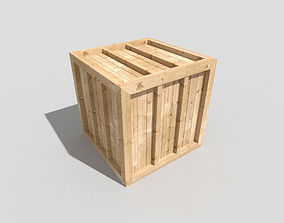 3D asset low poly wooden crate