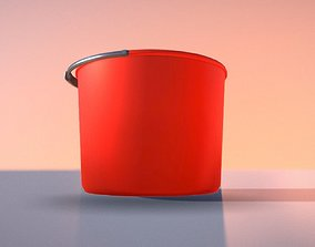 3D model Red Plastic Bucket With Handle - Mid-Poly