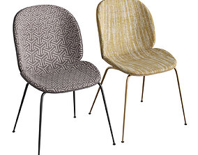 Beetle Dining Chair Front Upholstered Conic Base 3D