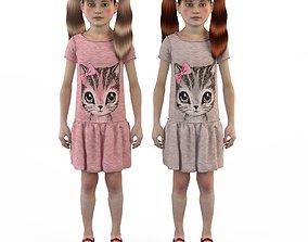 Girl dress t shirt skirt Baby clothes playpen 3D