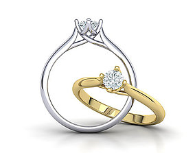 Four claws Trellis Solitaire Engagement Ring 3dmodel