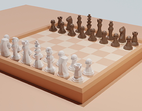 queen Low Poly Chess Set 3D asset VR / AR ready