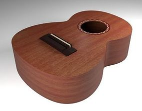 Guitar Body 3D model game-ready
