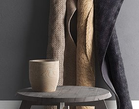 Sisal Carpets and Table with Vase 3D model