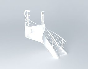 Curved concrete staircase 3D