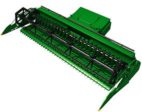 Green Combine Threshing 3D