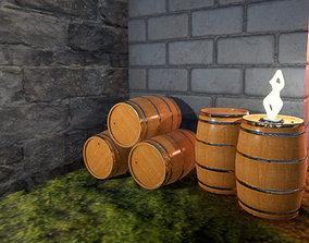winemaking wooden barrel 3D model realtime