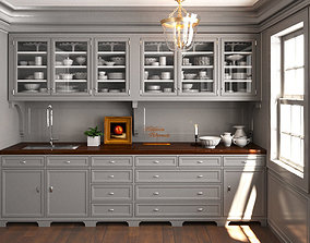 grey wood Classic pantry Kitchen interior dinnerware 3D