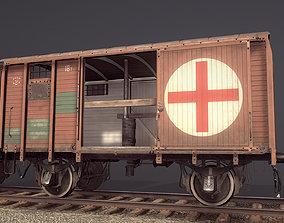 3D model Railway Covered Goods Wagon 18T Vr4 Medic Orange