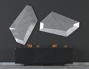 Diamon Mirror and Kayak Sideboard 3D