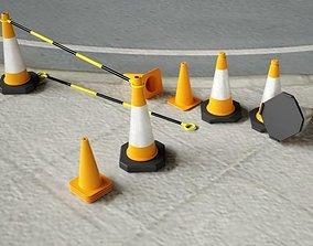 3D model Set of 3 Traffic Cones