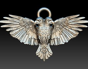 gold 3D printable model two-headed eagle pendant