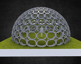 3D model Dome structure with round panels geodesic shape