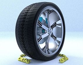 ORTAS CAR RIM 12 GAME READY RIM TIRE AND DISC 3D model