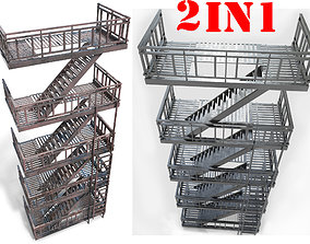 fire escape - Game Ready - VR AR 3D model