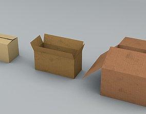 3 Plain Cardboard Boxes 3D asset