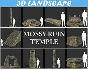 3D Low poly Mossy Temple Ruin Package 190403