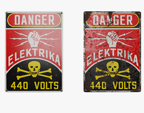 Vintage 1930 Electric Danger Sign 3D model