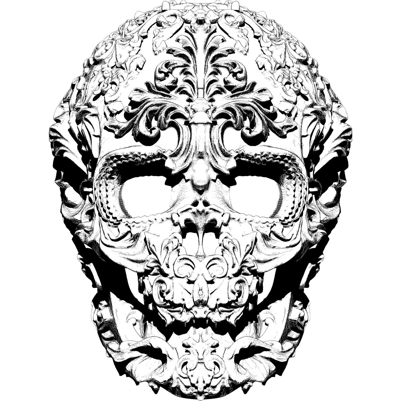 Skull art model. High detailed 3d model. Black&White illustration