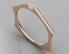 gold platinum Women solitaire ring 3dm render detail