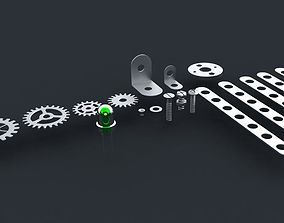 Screws nuts shims cogwheels and luminodiode 3D