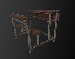 School Bench 3D asset