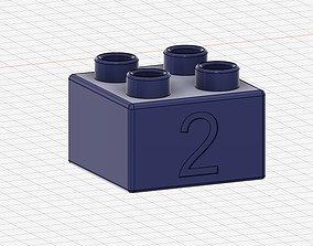 3D printable model Lego Duplo compatible 2x2 2