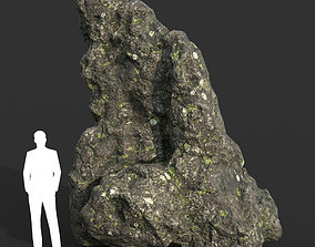 Low poly Damaged Lichen Rock 07 190907 3D model