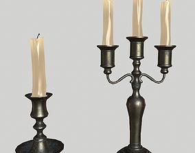 Candleholder bronze 3D model VR / AR ready