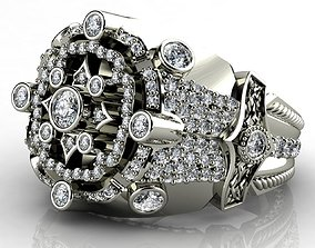 Diamond White Gold 18k Rings for Men 3D printable model